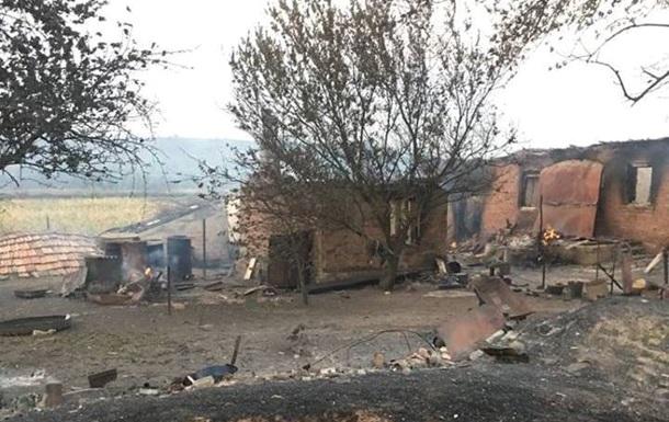 В Донецкой области пожар почти уничтожил село