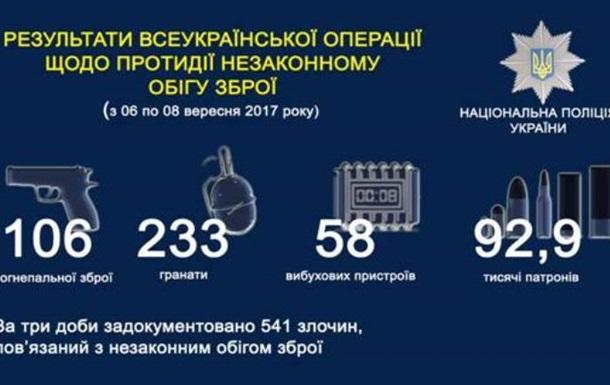 В Украине за три дня изъяли более 100 единиц оружия