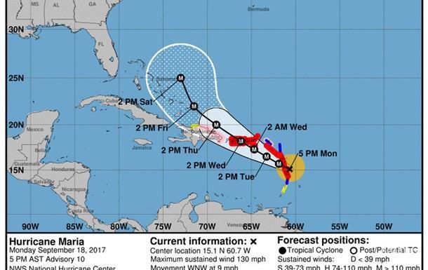 Ураган Марія посилився до четвертої категорії