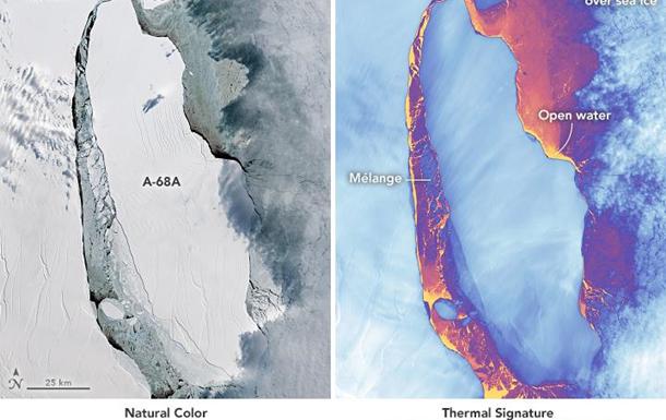 NASA показало фото гігантського тріснутого айсберга