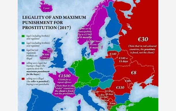 Запрещенную и разрешенную проституцию показали на карте Европы