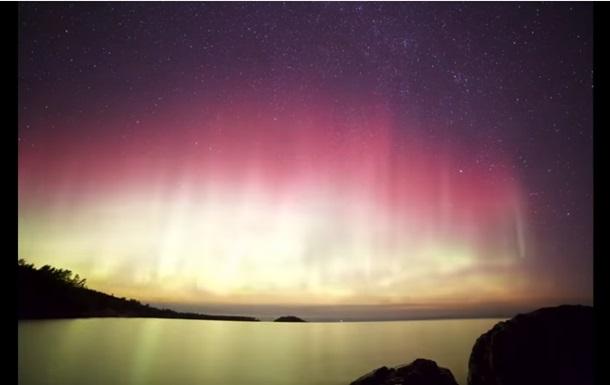 Рідкісної краси північне сяйво показали на відео