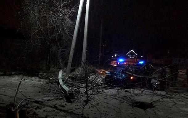 Под Киевом пьяная женщина-водитель врезалась в столб