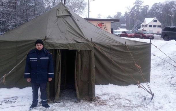 Под Киевом открыли шесть пунктов обогрева для водителей