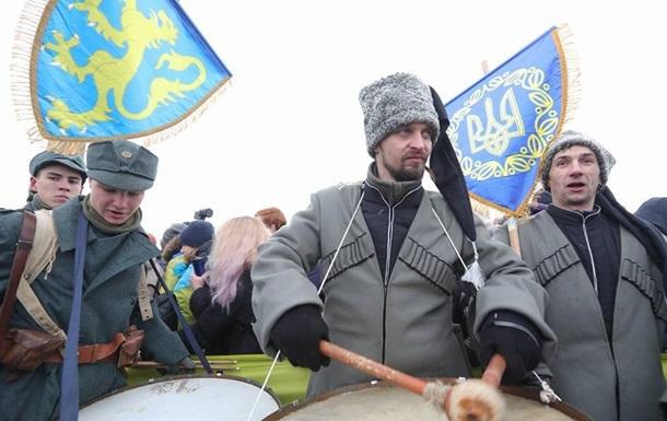 День соборності: прапори України біля Криму та Луганська