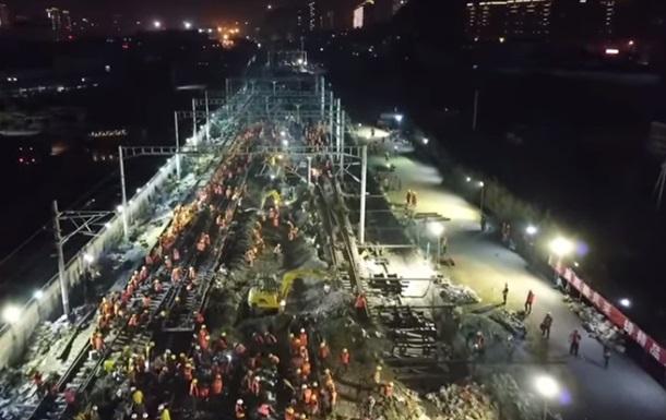Китайцы построили за ночь железнодорожную развязку