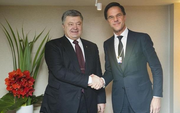 Порошенко и премьер Нидерландов обсудили санкции против РФ