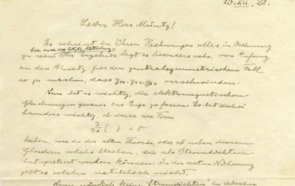 На аукціоні продали лист Ейнштейна про теорію відносності