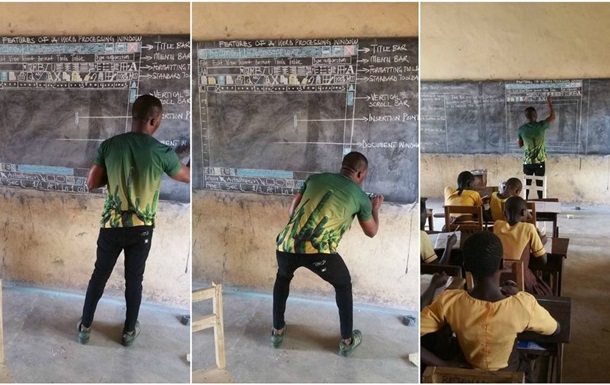 Африканец прославился, преподавая Microsoft Word на доске