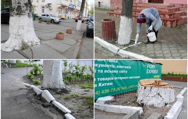 Побелка бордюров по весне – советская традиция лживой эстетики