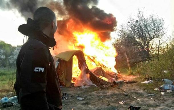 Радикали заявили про спалення табору ромів в Києві