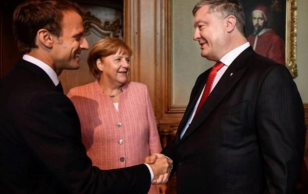 На троих: о чем договорились Меркель, Порошенко и Макрон