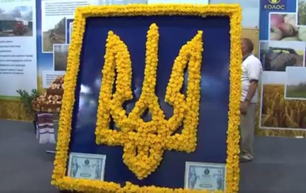 В Киеве создали огромный Герб Украины из роз