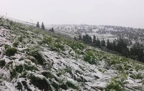 В Карпатах 1 июля выпал снег