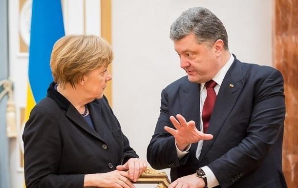 Меркель обсудила с Порошенко свой визит в Киев