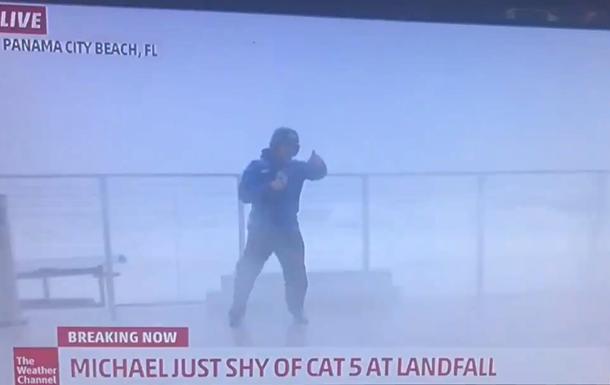 Ведучого ледь не вбив ураган у прямому ефірі