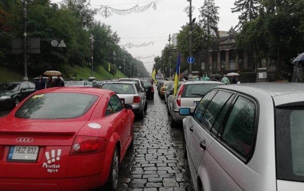 Мітинг  євробляхерів : центр Києва знову у заторах