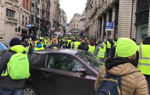 В Брюсселе начались массовые протесты  желтых жилетов