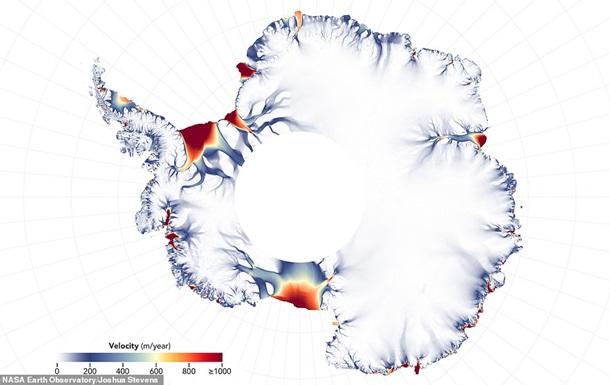 NASA показало карту тающих ледников Антарктиды