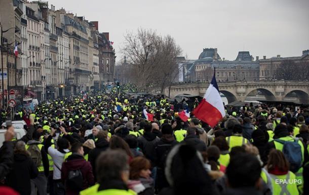 Милиция применила водометы кучастникам акции «желтых жилетов» встолице франции