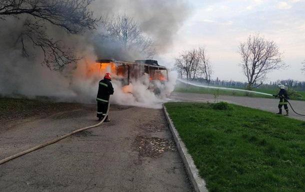 У Черкаській області на ходу загорівся автобус