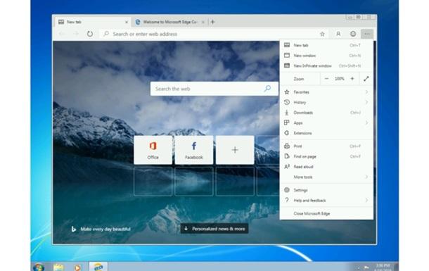 Браузер Microsoft Edge став доступний для Windows 7 і 8