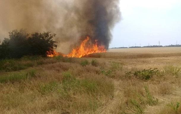 Під Харковом згоріло поле з зерном