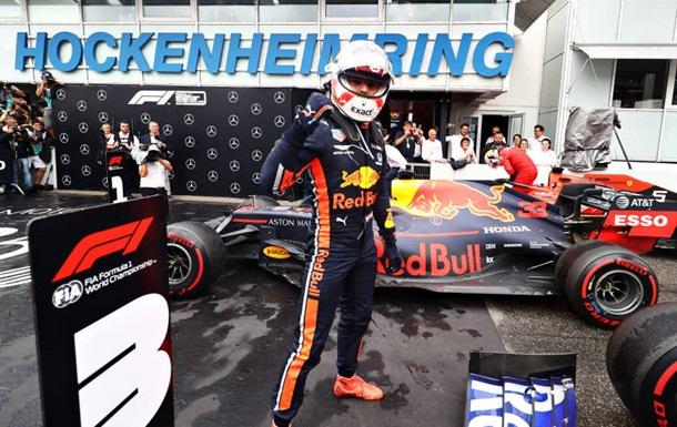 Ферстаппен выиграл сумасшедший дождевой этап в Германии