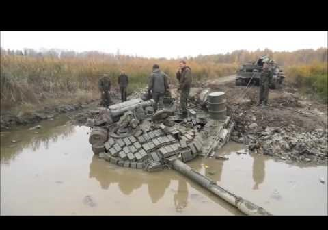 На Донбассе боевики утопили танк с экипажем