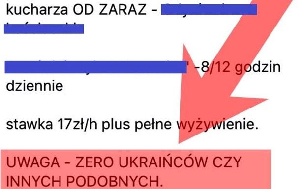 В Польше разместили вакансию с условием  ноль украинцев  - СМИ