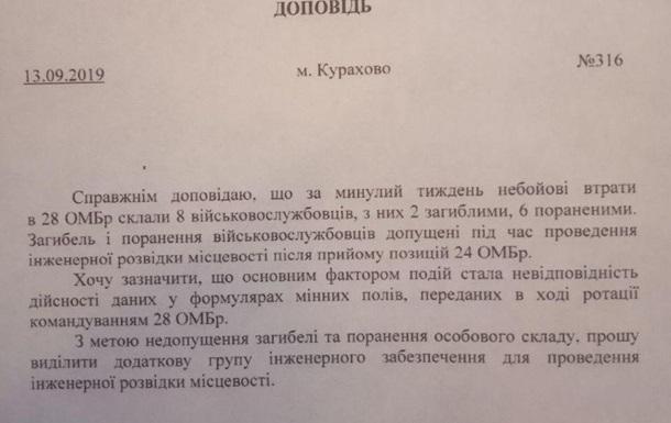 Небоевые потери при ротации 28 бригады на 24 бригаду ВСУ