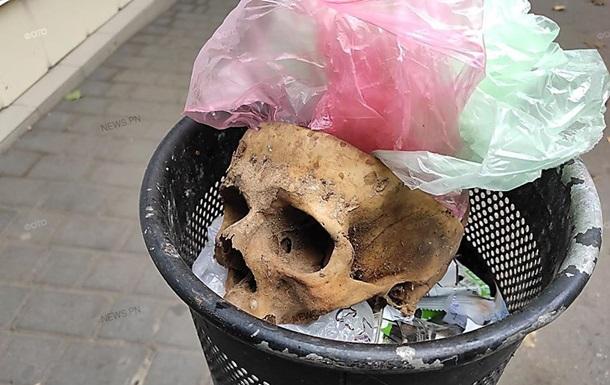 В Николаеве нашли человеческий череп в урне для мусора
