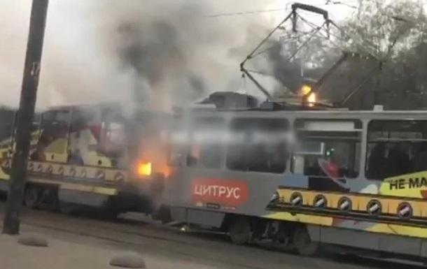 В Днепре загорелся трамвай с людьми