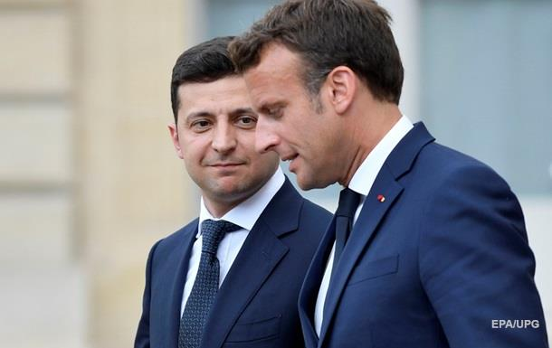 Зеленский поговорил с Макроном перед Парижем