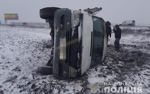 В Запорожской области перевернулась маршрутка с пассажирами
