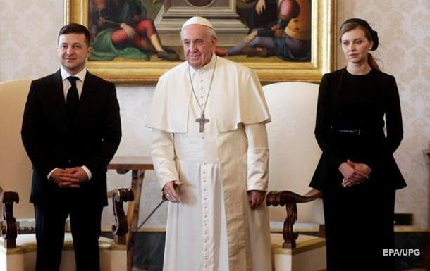 З явилися фото зустрічі подружжя Зеленських і Папи