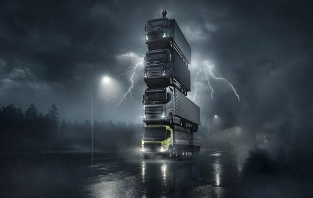 Volvo сняли движущуюся башню из четырех грузовиков