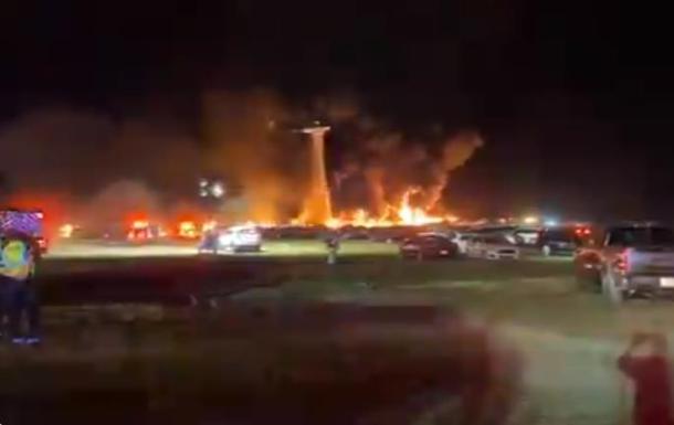 Пожар уничтожил сто авто в аэропорту Флориды