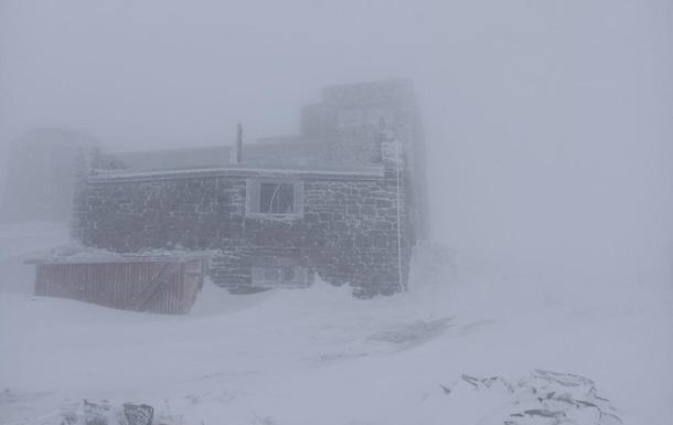 Снег в Карпатах 17 мая