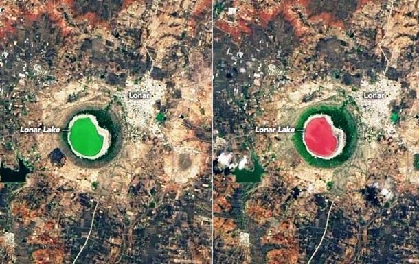 Озеро в Индии полностью поменяло цвет