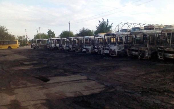 У Черкаській області спалили десяток автобусів