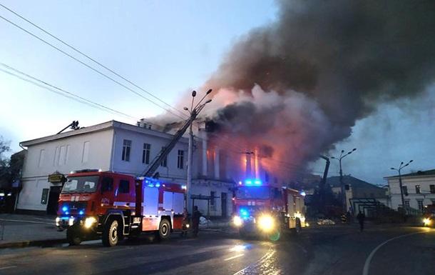 У Полтаві гасять масштабну пожежу в кінотеатрі