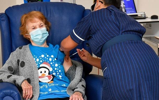 Перша у світі прищеплена від COVID жінка отримала другу дозу вакцини
