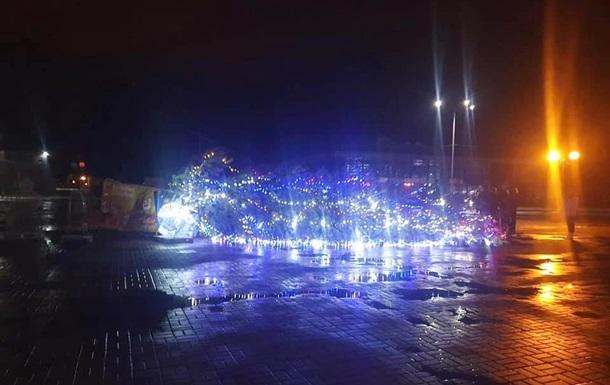 В Каневе упала главная новогодняя елка