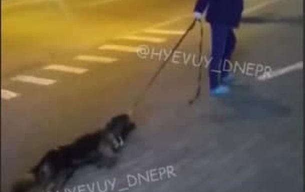 В Днепре женщина тянула по дороге собаку без признаков жизни