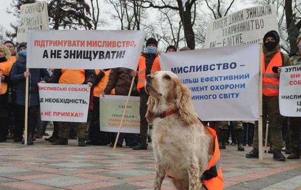 Возле Верховной Рады протестуют охотники