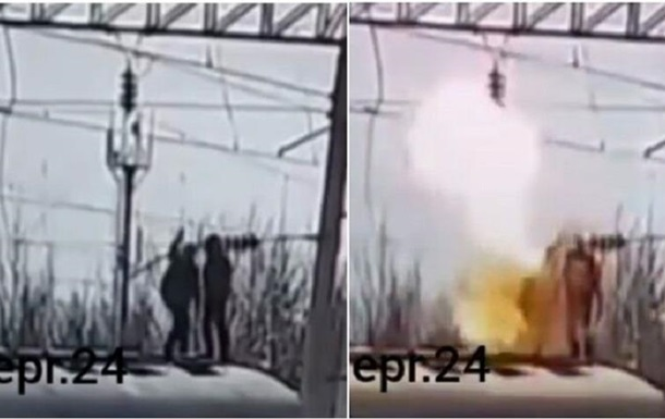 Загорелся и камнем вниз: парень на спор взялся за высоковольтный провод
