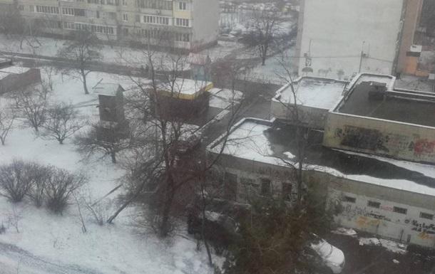 В Киеве прошел снегопад