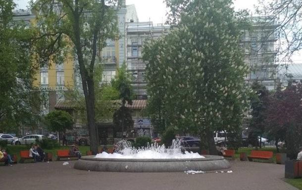 У перший день роботи фонтанів у Києві в один налили мила