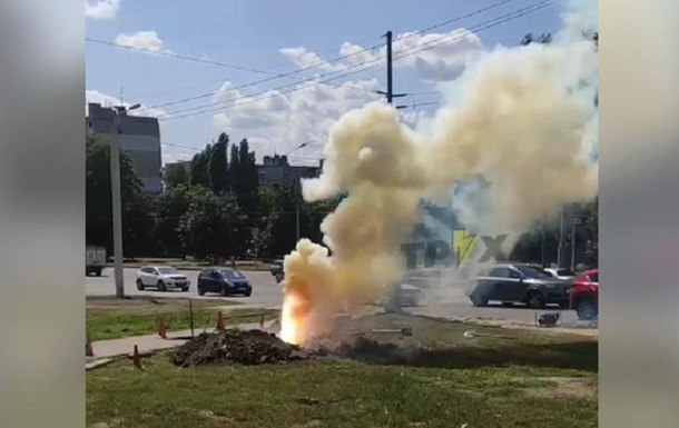 В Харькове из-под земли вырвался столб огня